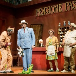 Alfonso  Antoniozzi as Don Pasquae with Andy Fraser, Sandra Haxton and Steven Faughy as porter, maid and cook